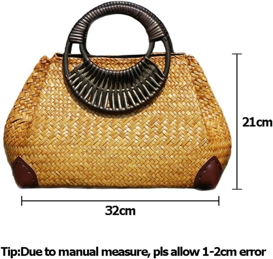 ManualYiDaLi Borse da Donna Borse da Donna Bamboo Bamboo Summer Beach Weave Handbag Lady Handmade Vintage Borsa A Mano in Legno Borsa da Viaggio Borse Totes Ss3144 Nero
