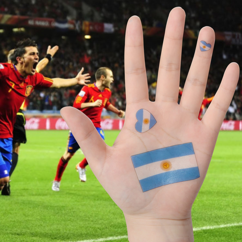 ... impermeables banderas nacionales tatuaje cara cuerpo adhesivo [contiene 1 limpio toallita], Argentina, 60 x 60 MM: Amazon.es: Deportes y aire libre