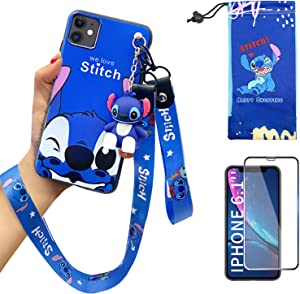 "iPhone 11 case with HD Screen Protector, Cute Stitch Cartoon 3D Character Silicone Cover Case for Apple iPhone 11 6.1"" with 2 Lanyard, 1 Cell Phone Stand, 1 Phone Storage Bag"