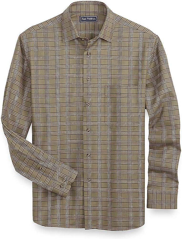 Paul Fredrick Mens Cotton Glen Plaid Casual Shirt