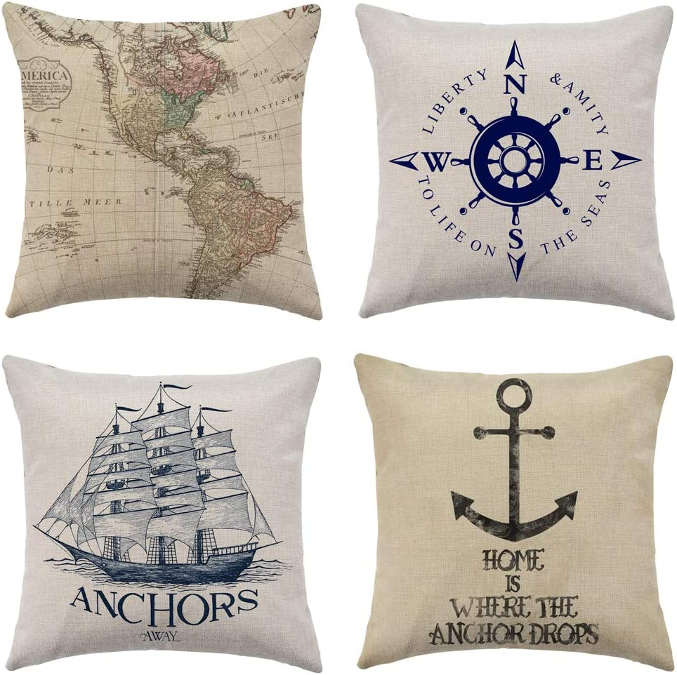"""WFLOSUNVE Nautical Beach Decorative Throw Pillow Covers 18""""x 18"""" Set of 4, Faux Linen Ocean Navigation Compass/Map/Ship/Anchor Cushion Cases, Sea Theme Coastal Pillowcases for Couch and Sofa"""