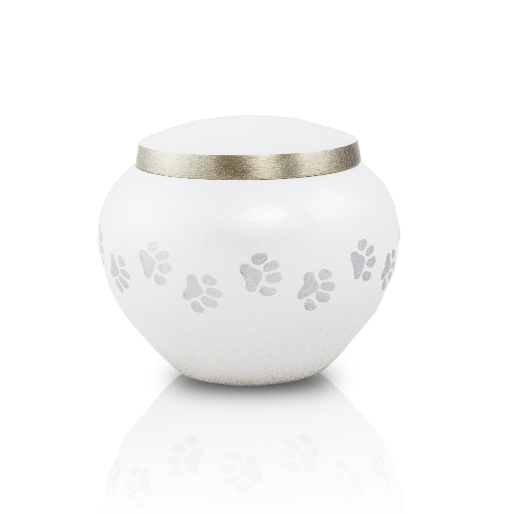 Paw Prints Bronze Memorial Urn for Cats and Dogs - Extra Small - Holds Up to 25 Cubic Inches of Ashes - Pearl White Pet Cremation Urn for Ashes - Engraving Sold Separately