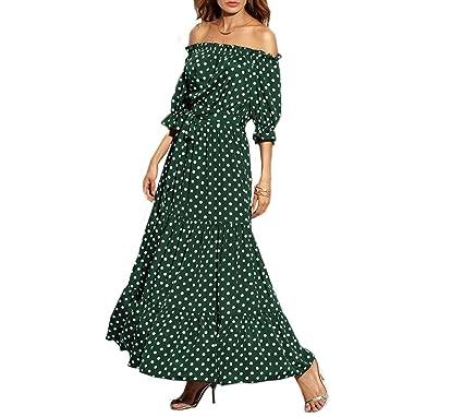 b50bab0b507 Women Polka Dot Tie Waist Dress Off The Shoulder A Line Belted Maxi Dress