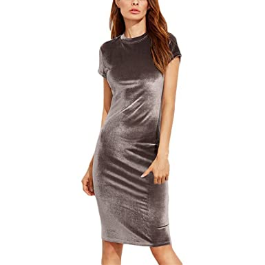 7ffbb8c658c394 Jongood Fashion New Hot Autumn Girls Tight Round Neck Short Sleeve Knee  Pencil Dress at Amazon Women s Clothing store