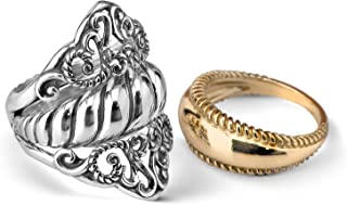 product image for Carolyn Pollack Sterling Silver and Brass 3 Piece Guard Ring Set Size 5 to 10