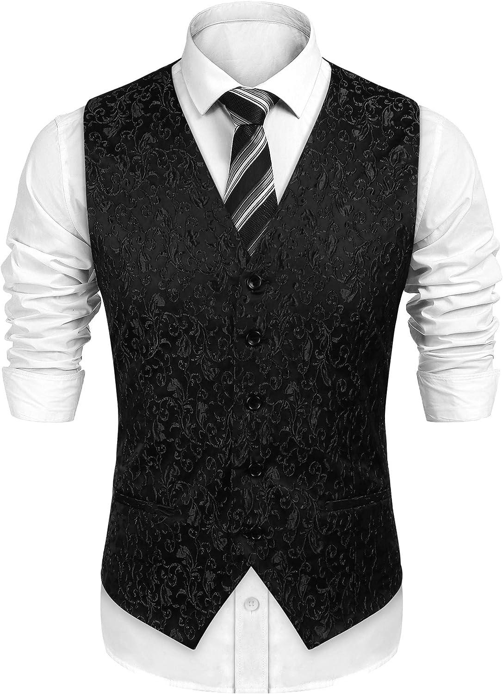 JINIDU Men's Floral Dress V-Neck Vest Waistcoat Slim Fit for Suit or Tuxedo