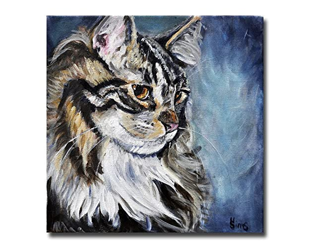 Cat art print, Maine Coon Giclee, Gift idea, Gallery Wall for Animal Home  Decor, size/mat option