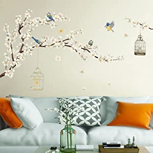 decalmile Cherry Blossom Wall Stickers White Flower Tree Branch Birds Wall Decals Bedroom Living Room TV Wall Art Home Decor