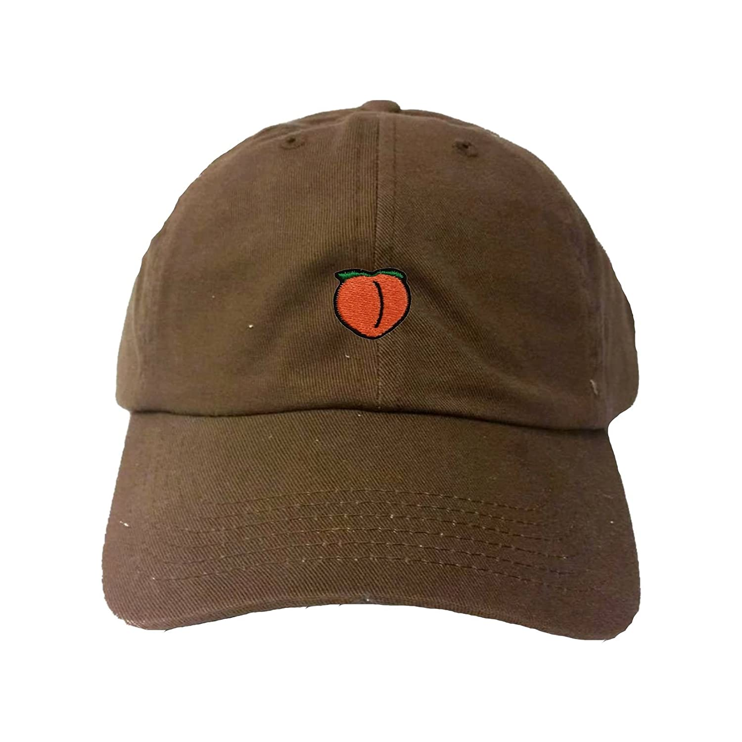 840bc69ecb93cf Amazon.com: Adjustable Black Adult Peach Emoji Embroidered Dad Hat: Clothing