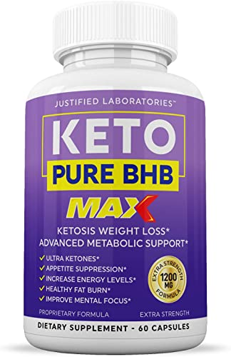 Keto Pure BHB Max 1200MG Keto Pills Advanced Ketogenic Supplement Real Exogenous Ketones Ketosis for Men Women 60 Capsules 1 Bottle
