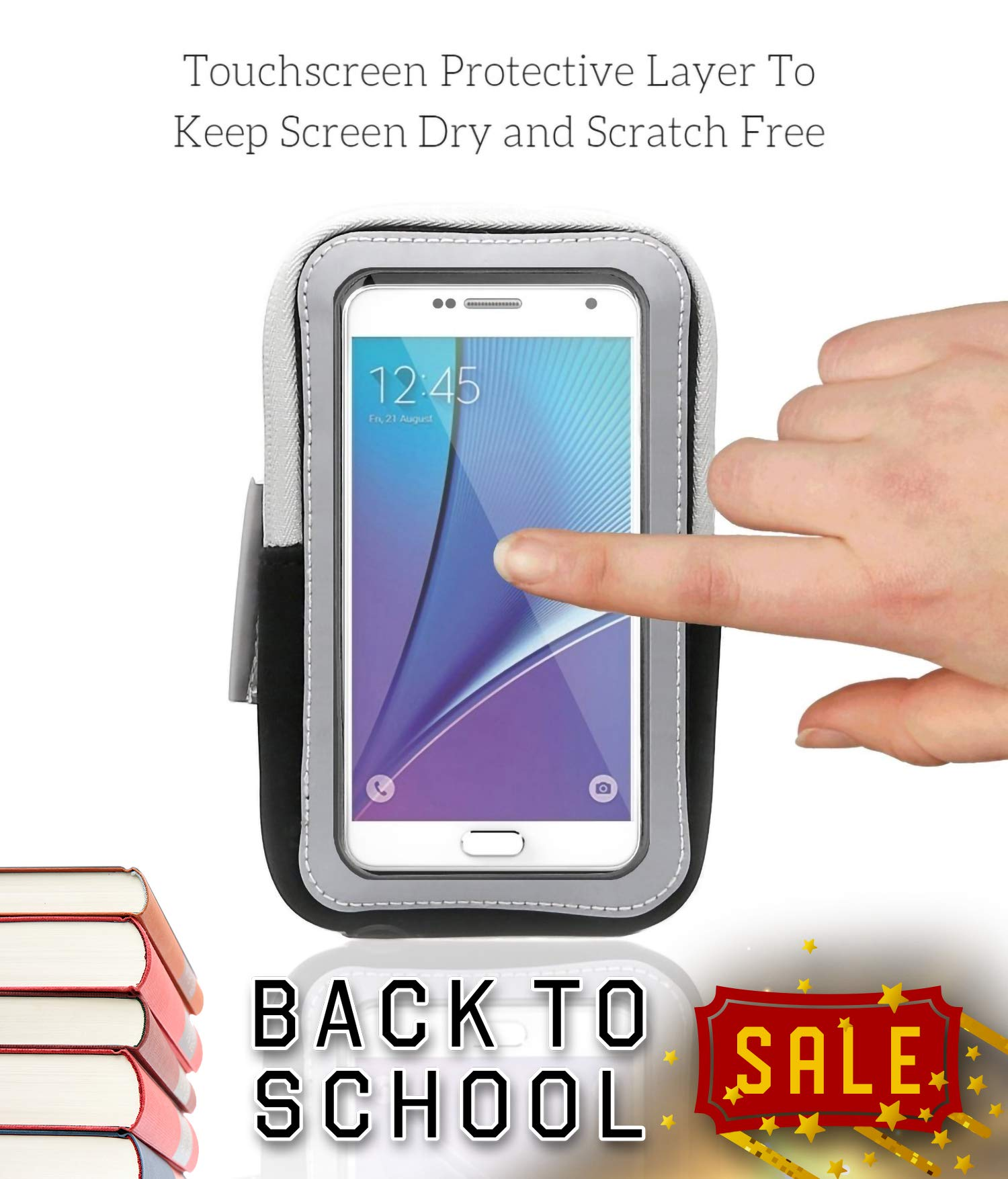 Sports Armband: Cell Phone Holder Case Arm Band Strap With Zipper Pouch/ Mobile Exercise Running Workout For Apple iPhone 6 6S 7 Plus Touch Android Samsung Galaxy S5 S6 S7 Note 4 5 Edge LG HTC Pixel by E Tronic Edge (Image #4)