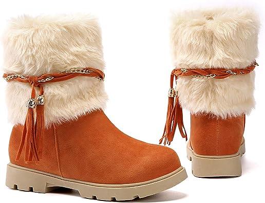 New Premium Light Brown Faux Suede Fur Snow Winter Womens Short Boots