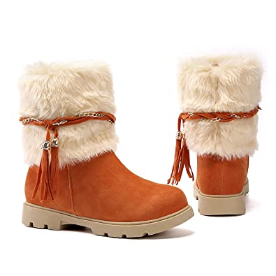 5d5ad7a6c1c2 Susanny Women s Winter Fashion Warm Short Booties Casual Outdoor Suede Flat  Heel Waterproof Faux Fur Orange2