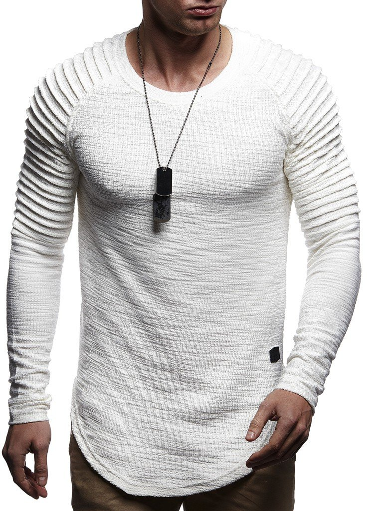 Leif Nelson Mens Pullover Long Sleeve t-Shirt Sweater Slim fit Sweatshirt Hoodie,Ecru,X-Large