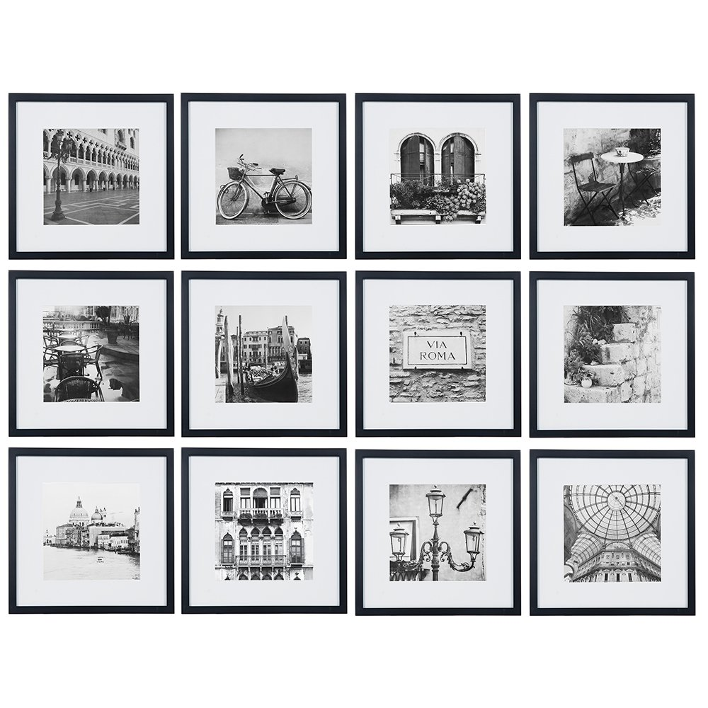 Gallery Perfect 12 Piece Black Square Photo Frame Gallery Wall Kit with Decorative Art Prints & Hanging Template Set