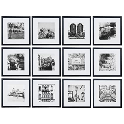 amazon com gallery perfect 12 piece black wood square photo frame