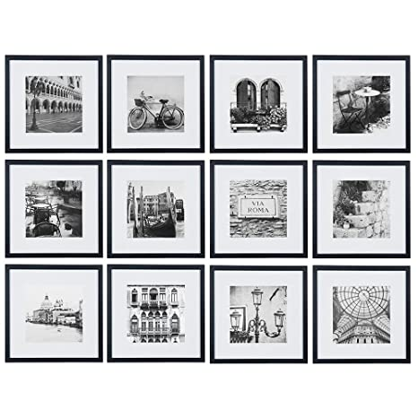 Gallery Perfect 12 Piece Black Square Photo Frame Gallery Wall Kit With With Decorative Art Prints Hanging Template Set