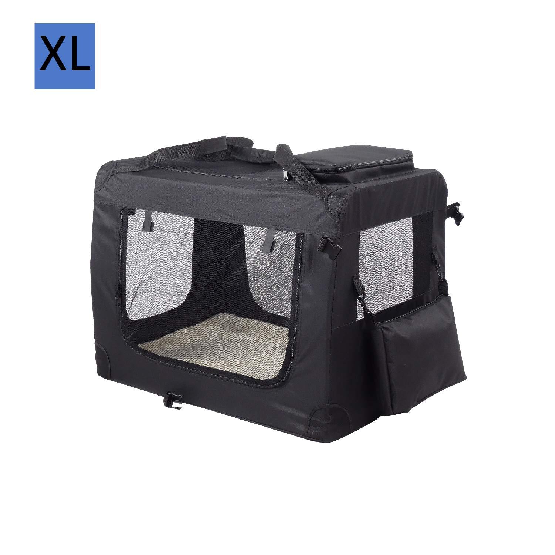 Heart Belong HB Hunde Transportbox Hundebox faltbar Reisebox Transporttasche für Haustiere, weiche Seitenteile, Schwarz Schwarz- L