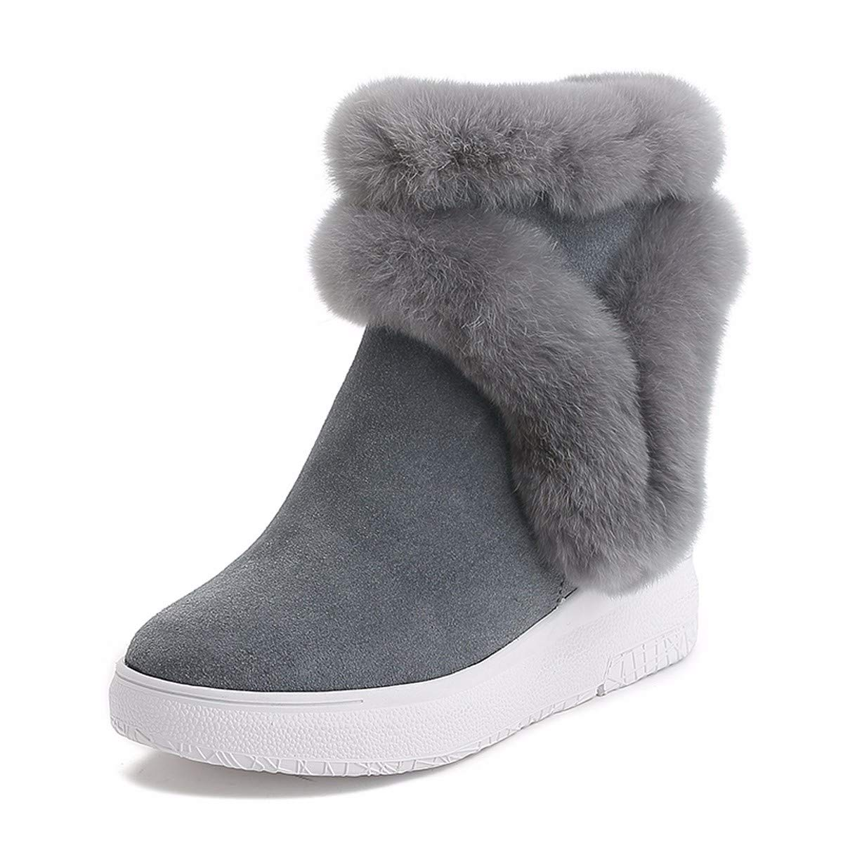 HBDLH Damenschuhe Baitao Geschliffen Heel 7 cm Schnee - - - Leder - Wärme - Baumwoll - Schuhe Midbarrel Dicke Sohle Innerer Größe Kurze Stiefel a72c1b
