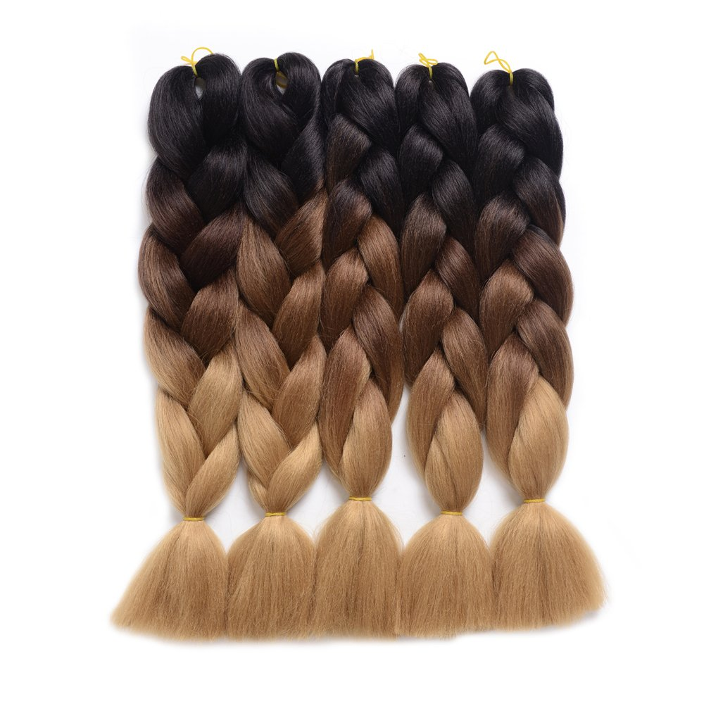 Ding Dian Synthetic Braiding Hair Extensions Kanekalon Hair Ombre Twist Braiding Hair High Temperature Hair Extensions 5Pcs/Lot 100g/Pc 24'' (60CM) (24'', Black-dark brown-light brown)
