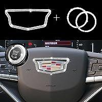 JINGSEN Adesivo de diamante decorativo para volante de carro brilhante para acessórios interiores Cadillac compatível…