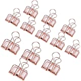 Espoy Metal Foldback File Paper Binder Clips Hollow Shape for Office Kitchen Usage Gold (Pack of 12)