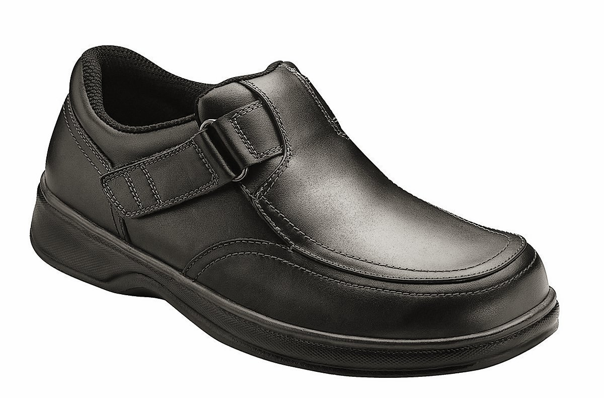 Orthofeet Carnegie Mens Extra Wide Depth Therapeutic Arthritis and Diabetic Shoes Black Leather 14 W US