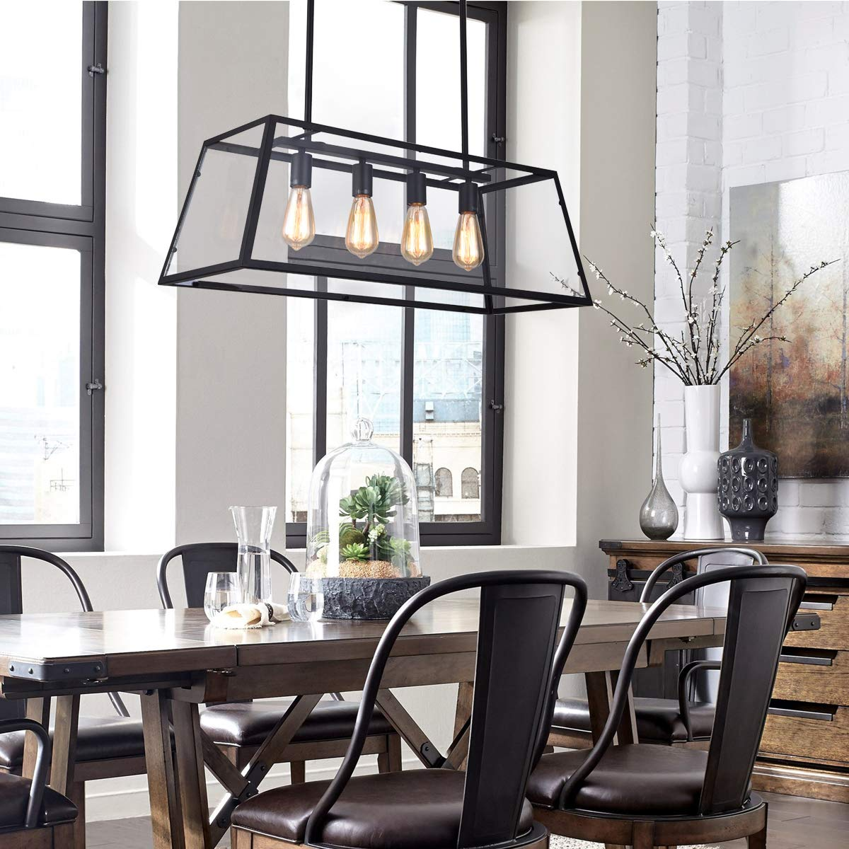 mirrea 4-Light Kitchen Island Pendant Matte Black Shade with Clear Glass Panels Modern Industrial Chandelier for Dinning Room by mirrea (Image #2)