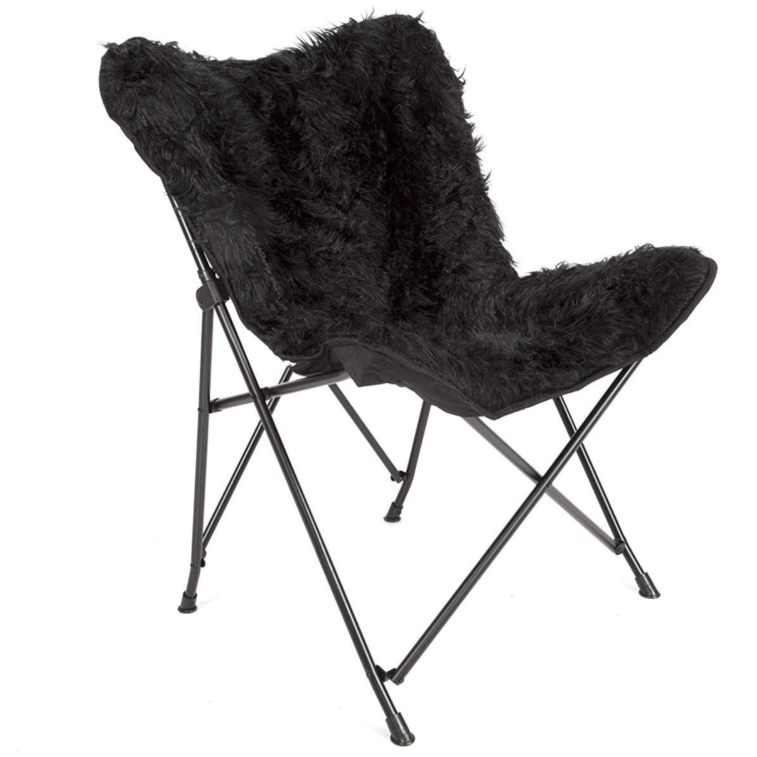 Enjoyable Mac Sports Black Butterfly Papasan Fur Chair Foldable Collapsible Fluffy And Fuzzy Removable Faux Black Fur Cover Accent Chair For Women Girls Gamerscity Chair Design For Home Gamerscityorg