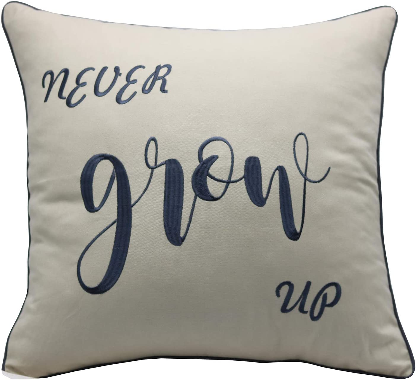 """YugTex Pillowcases Never Grow up,Peter Pan Quote,Child Kids Room Pillowcase,Motivational Quote,Newborn Baby Gifts, Toddler Room Decor (18""""x18"""", Never Grow(Natural))"""