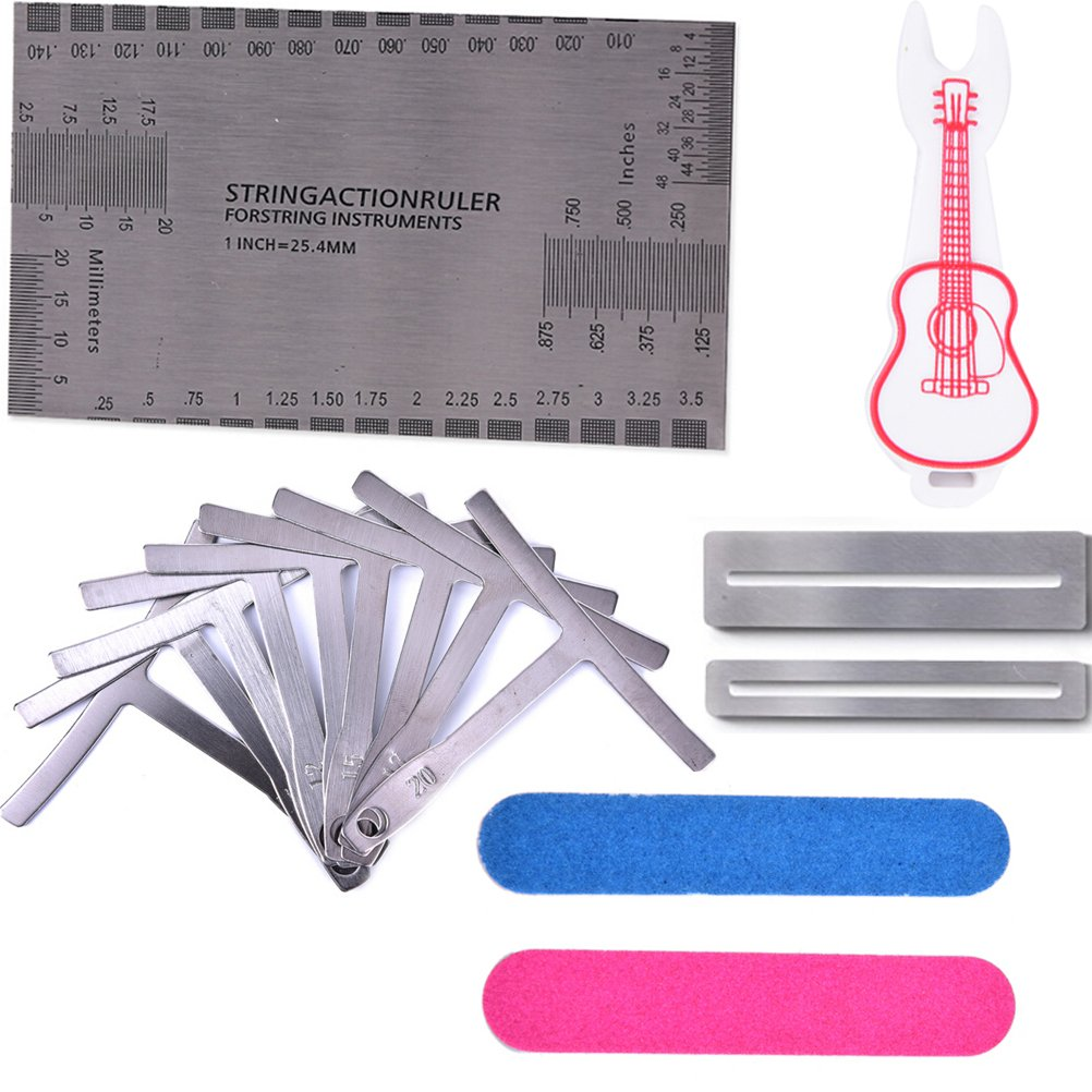 Buytra 15 Pieces Luthier Tools Set Includes String Action Gauge Ruler, Understring Radius Gauge, Fingerboard Fret Protector Guards, Bridge Pin Puller for Guitar Bass Setup