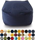 エムール 日本製 マイクロビーズクッション 『mochimochi』 キューブ XLサイズ クッション本体+専用カバー(ネイビー)