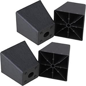 RDEXP Black Plastic Trapezoid Sofa Couch Furniture Legs Feet Heigh 3.86inch Pack of 4 (Type 3)