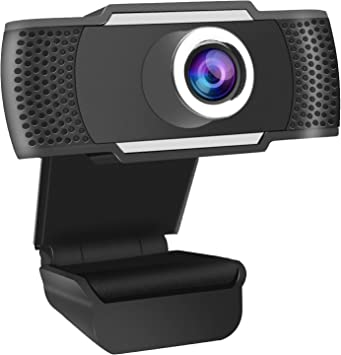 Webcam 1080P Full HD con Micrófono Estéreo USB 2.0, Cámara Web Autofocus con Video/Conferencia/Emisión Directa y Grabación, Compatible con PC Laptop Desktop MacBook Windows Android iOS - Negro