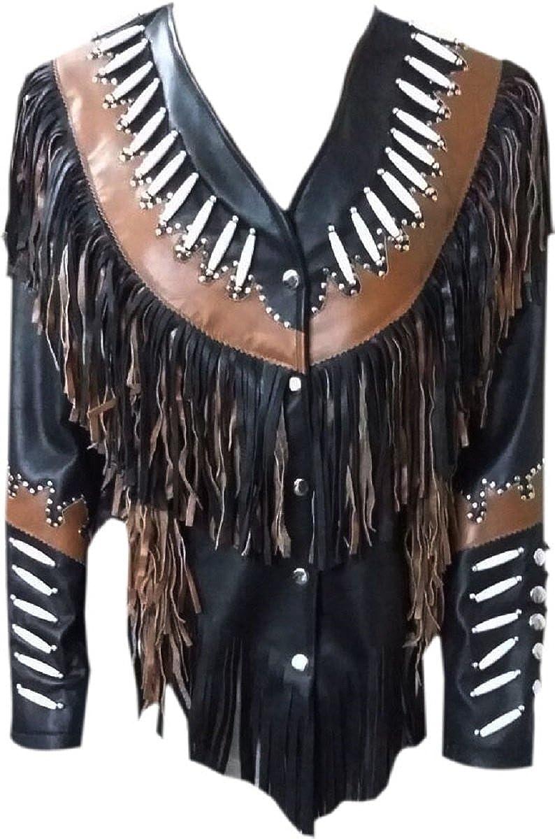 LEATHERAY Mens Fashion Western Cowboy Fringed /& Beaded Jacket Cow Leather Black XS