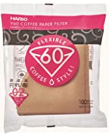 Hario V60 Paper Coffee Filters, Size 2, 100 Count, Brown