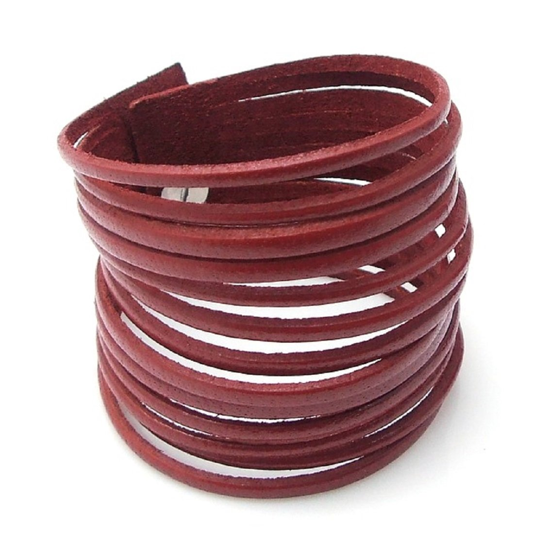 AeraVida Cut Out Trendy Genuine Red Leather Bracelet