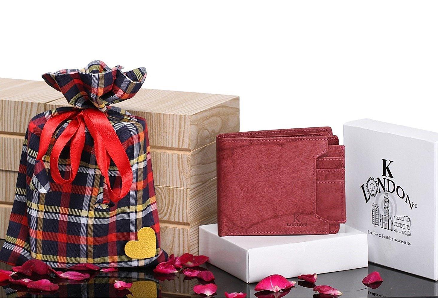 K London Special Day Gift Anniversary Birthday Vintage Look Sleek Card Coin Pocket Mens Wallet Tan 5007 Maroon Antq Gi Amazonin Bags
