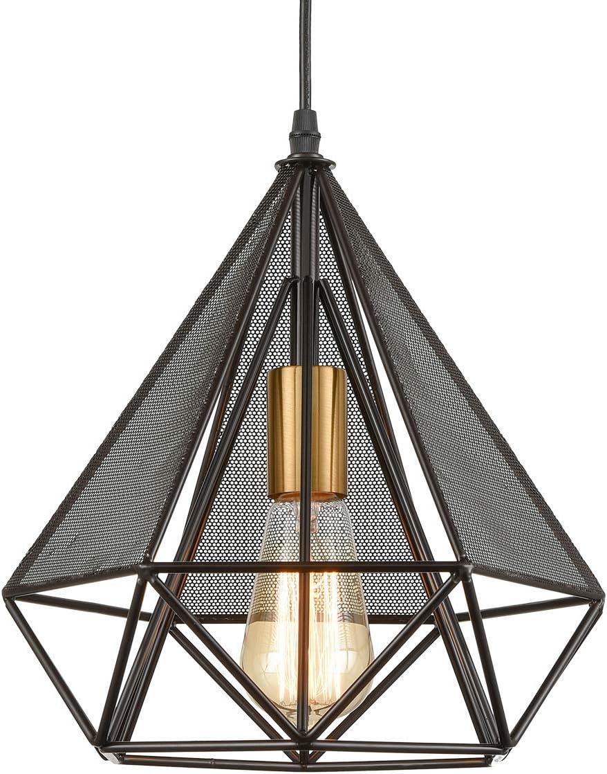Loft Geometric Metal Cage Pendant Lights Diamond Shape Hanging Light For Kitchen Island Brass Socket Amazon Com