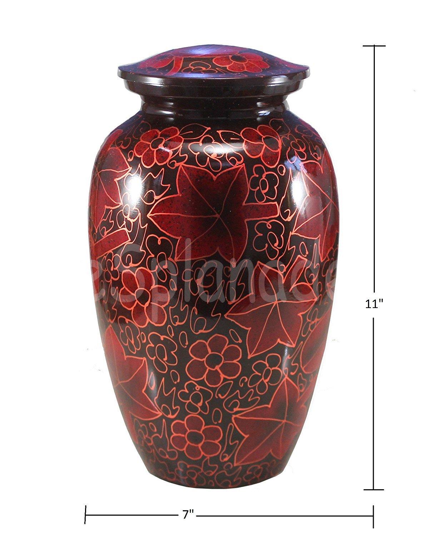 eSplanade Red Brass Cremation urn Memorials urns Container Jar Pot Brass Urns Metal Urn Burial Urn Memorial Urn Red Black