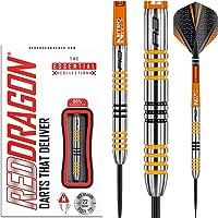 RED DRAGON Amberjack 3 Tungsten Steeltip Darts Set - 22g with Flights and Stems
