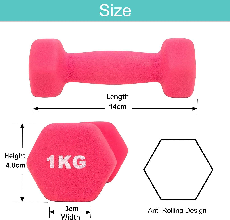 Set di 2 Arteesol Manubri Peso Fitness 1kg//2kg//3kg//4kg//5kg//8kg Coppia di manubri leggeri pesanti per uomini Donne Pesi Palestra di esercizi per la forza Impermeabili e antiscivolo con finitura opaca