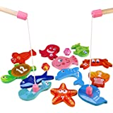 BESTOYARD Fishing Game with 12 Different Wooden Magnetic Fish and 2 Poles, Perfect for Children's Gifts