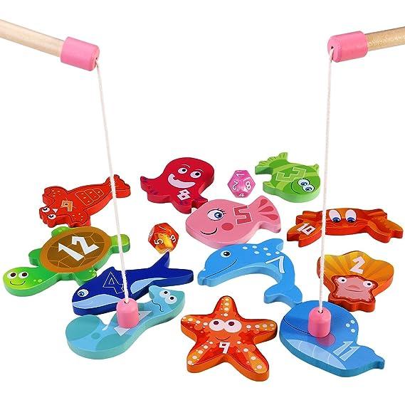 BESTOYARD Angelspiel aus Holz Angeln Spielzeug Kinderspiel mit 12 Verschiedenen Holz Magnet Fische und 2 Ruten, Perfekt Lerns