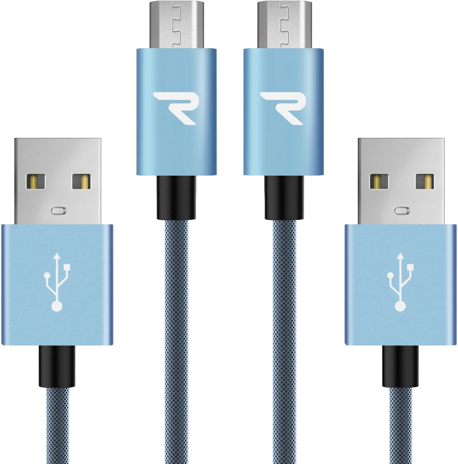 RAMPOW Braided Micro USB Cable [2-Pack 3.3ft], Fast USB Charging Cable Compatible with Samsung Galaxy S7/S6, Sony, HTC, Moto and More - Blue