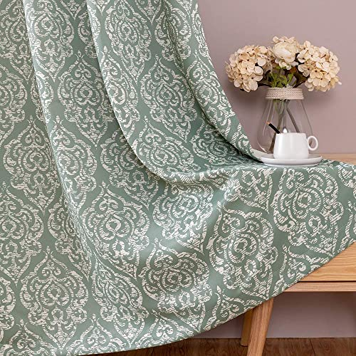 jinchan Blackout Curtains Damask Design Pattern Living Room Dining Bedroom Classic Window Curtains Room Darkening Thermal Insulated Drapes Grommet Top 2 Panels 95″ L Green