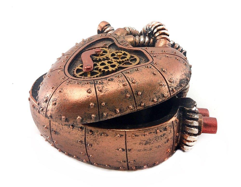 Bellaa 20980 Steampunk Heart Box Mechanical Industrial 4 inch 5