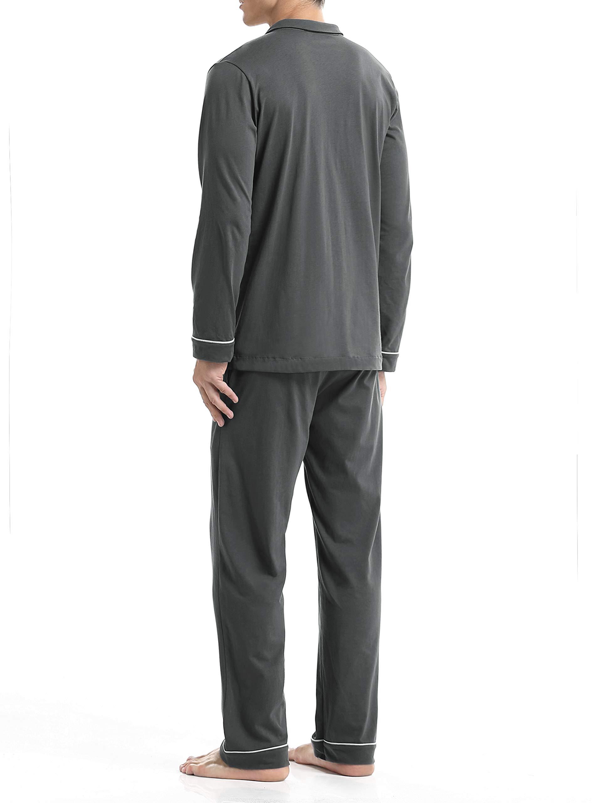 David Archy Men's 100% Cotton Long Button-Down Sleepwear Pajama Set (M, Dark Gray) by David Archy (Image #2)
