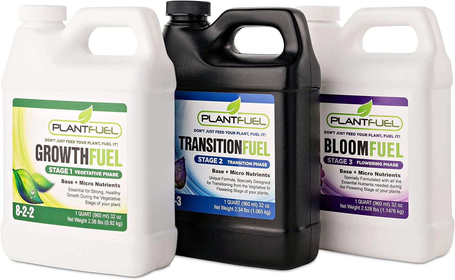 PLANTFUEL (Growth, Transition, Bloom) Plant Fertilizer Liquid Fertilizer for Outdoor and Indoor Plants and Hydroponics