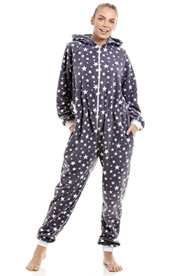 94f0710c55c Camille Womens Soft Fleece White Star Print Grey Onesie  Amazon.co.uk   Clothing